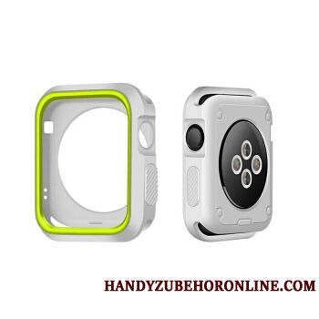 Skal Apple Watch Series 1 Silikon Bicolor Vit, Fodral Apple Watch Series 1 Skydd Grön