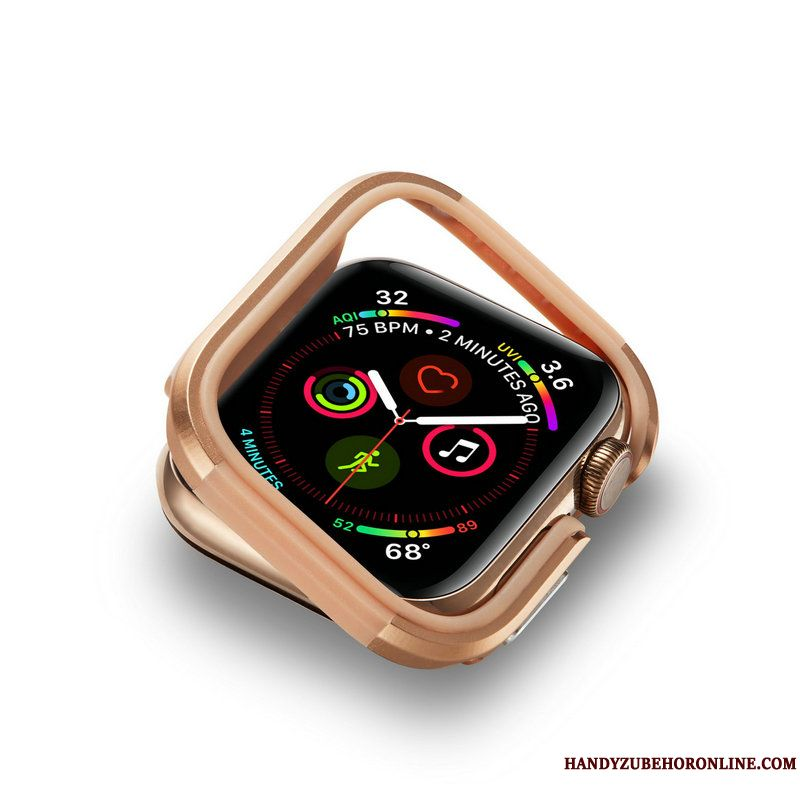 Skal Apple Watch Series 4 Metall Guld Frame, Fodral Apple Watch Series 4 Skydd Fallskydd