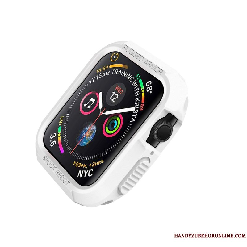 Skal Apple Watch Series 4 Silikon Vit Fallskydd, Fodral Apple Watch Series 4 Skydd
