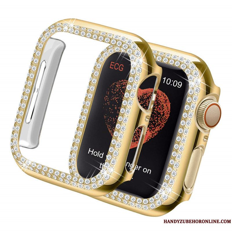 Skal Apple Watch Series 4 Skydd Plating Guld, Fodral Apple Watch Series 4 Strass Trend Frame